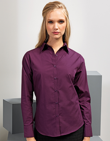 Ladies` Poplin Long Sleeve Blouse