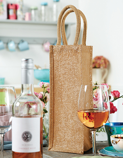 Torba Shimmer Jute Bottle Bag